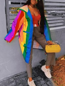 Yellow-Green Rainbow Striped Pockets Zipper Long Sleeve Hooded Casual Jacket Coat