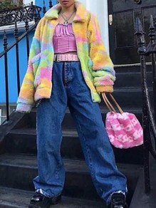 Yellow Pockets Tie Dye Lambswool Turndown Collar Teddy Cardigan Coat