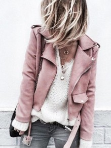 Pink Fashion Sweet Comfy V-neck Long Sleeve Leather Jacket Biker Jacket