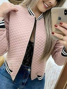 Pink Bandeau Fashion Sweet Comfy Round Neck Long Sleeve Blazer