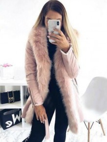 Pink Patchwork Faux Fur Sashes Parka Hooded Cardigan Coat