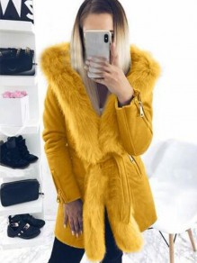 Yellow Patchwork Faux Fur Sashes Parka Hooded Cardigan Coat