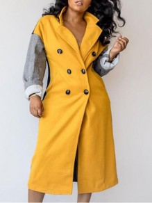 Yellow-Grey Patchwork Double Breasted Turndown Collar Casual Wool Coat