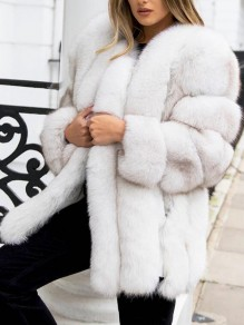White Faux Fur Fuzzy Bubble Long Sleeve Cardigan Coat