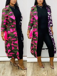 Purple Camouflage Pockets Long Sleeve Casual Outerwear