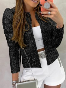 Black Patchwork Sequin Sparkly Glitter Birthday Party Outerwear