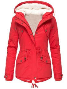 Red Plain Buttons New Fashion Latest Women Long Sleeve Hooded Fashion Outerwear