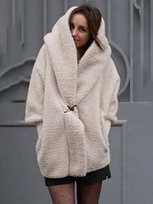 White Plain Buttons Ttrendy Hooded Long Sleeve Fashion Faux Fur Teddy Coat