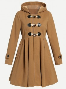 Camel Patchwork Horn Buckle Pockets Pleated Draped Long Sleeve Fashion Wool Hooded Coat