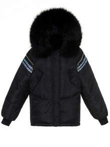 Black Patchwork Fur Hooded Long Sleeve Fashion Padded Coat