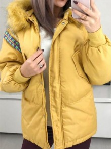 Yellow Patchwork Fur Hooded Long Sleeve Fashion Padded Coat