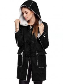 Black Plain Buttons Fashion Hooded Long Sleeve Vintage Coat