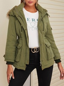 Army Green Patchwork Drawstring Pockets Comfy Hooded Fashion Outerwear
