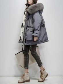 Grey Patchwork Plus Size Zipper Pockets Hooded Fashion Outerwear