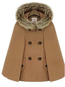 Camel Patchwork Fur New Fashion Latest Women Hooded Vintage Wool Cape