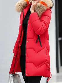 Red Patchwork Fur Hooded Long Sleeve Fashion Padded Coat