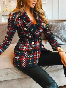 Black Patchwork Skirted Peacoat Flannel Turndown Collar Fashion Outerwear