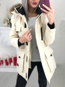 White Patchwork Zipper Pockets Comfy Fur Hooded Fashion Outerwear