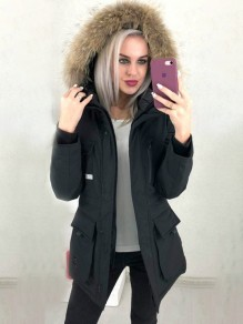 Black Patchwork Zipper Pockets Comfy Fur Hooded Fashion Outerwear