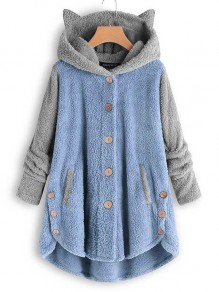 Blue Patchwork Buttons Hooded Long Sleeve Cute Lamb Wool Coat