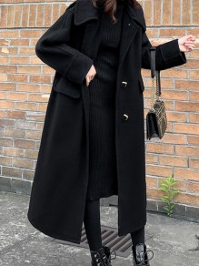 Black Patchwork Buttons Plus Size Turndown Collar Fashion Wool Coat