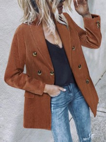 Caramel Patchwork Double Breasted Turndown Collar Long Sleeve Modern Corduroy Blazer Coat