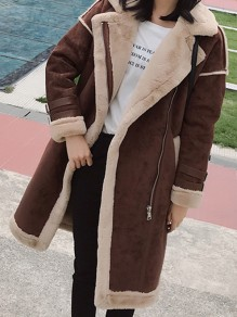 Coffee Patchwork Zipper Turndown Collar Long Sleeve Fashion Suede Coat
