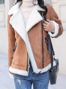 Brown Patchwork Zipper Turndown Collar Long Sleeve Fashion Suede Coat