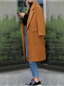 Camel Patchwork Buttons Pockets Turndown Collar Long Sleeve Fashion Outerwear