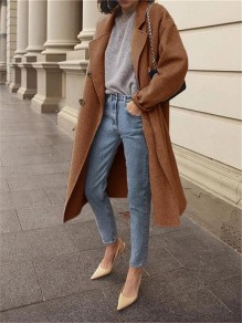 Brown Patchwork Buttons Turndown Collar Long Sleeve Fashion Wool Coat