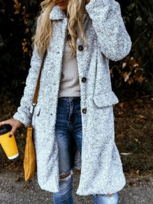 Grey Patchwork Buttons Turndown Collar Long Sleeve Fashion Coat