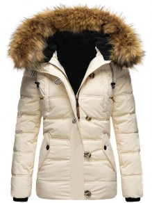 White Patchwork Buttons Pockets Fur Hooded Long Sleeve Fashion Outerwear