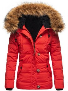 Red Patchwork Buttons Pockets Fur Hooded Long Sleeve Fashion Outerwear