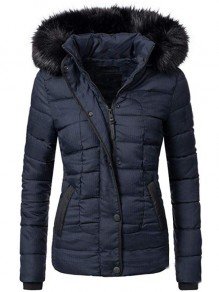 Dark Blue Patchwork Buttons Pockets Fur Hooded Long Sleeve Fashion Outerwear
