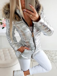 Silver Patchwork Zipper Pockets Hooded Long Sleeve Fashion Outerwear