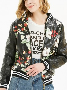 Black Floral Pockets Zipper Long Sleeve Fashion Leather Outerwear