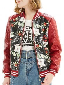 Red Floral Pockets Zipper Long Sleeve Fashion Leather Outerwear