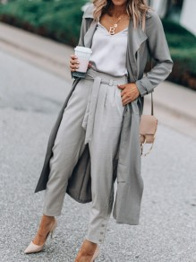 Grey Pockets Sashes Turndown Collar Long Sleeve Fashion Trench Coat