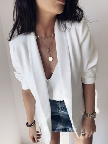 White Pockets Turndown Collar Long Sleeve Office Worker Suits