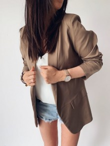 Dark Khaki Pockets Turndown Collar Long Sleeve Office Worker Suits