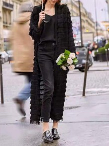 Black Patchwork Tassel Others Long Sleeve Fashion Outerwears