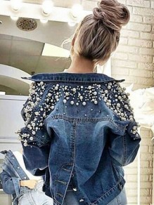 Blue Buttons Band Collar Long Sleeve Fashion Suits