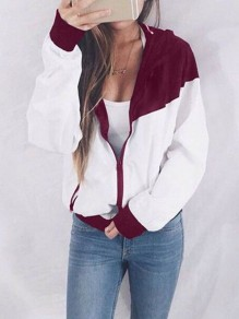 Red Patchwork Zipper Pockets Others Long Sleeve Fashion Outerwears