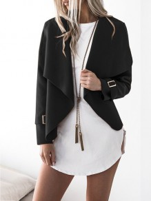 Black Patchwork Studded Others Long Sleeve Fashion Outerwears