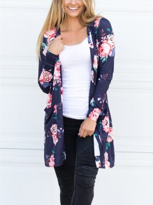 Sapphire Blue Floral Embroidery Pockets Others Long Sleeve Fashion Outerwears