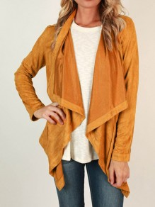 Yellow Patchwork Irregular V-neck Long Sleeve Fashion Outerwears