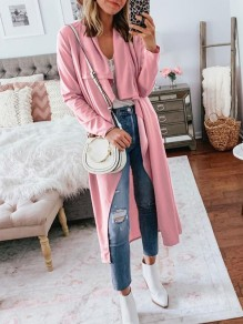 Pink Irregular Bodycon Comfy Long Sleeve Going out Outerwears
