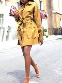 Yellow Pockets Sashes Single Breasted Turndown Collar Casual Trench Coat