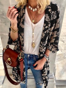 Black Flowers Print 3/4 Sleeve Oversize Bohemian Cardigan Coat