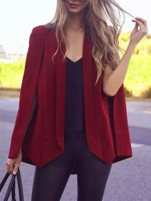 Red Pockets Slit Tailored Collar Long Sleeve Fashion Cape Coat